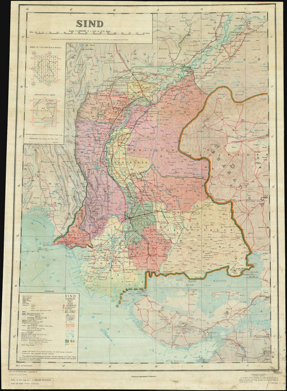 1981 Syed and Survey of Pakistan Map of Sindh Province, Pakistan