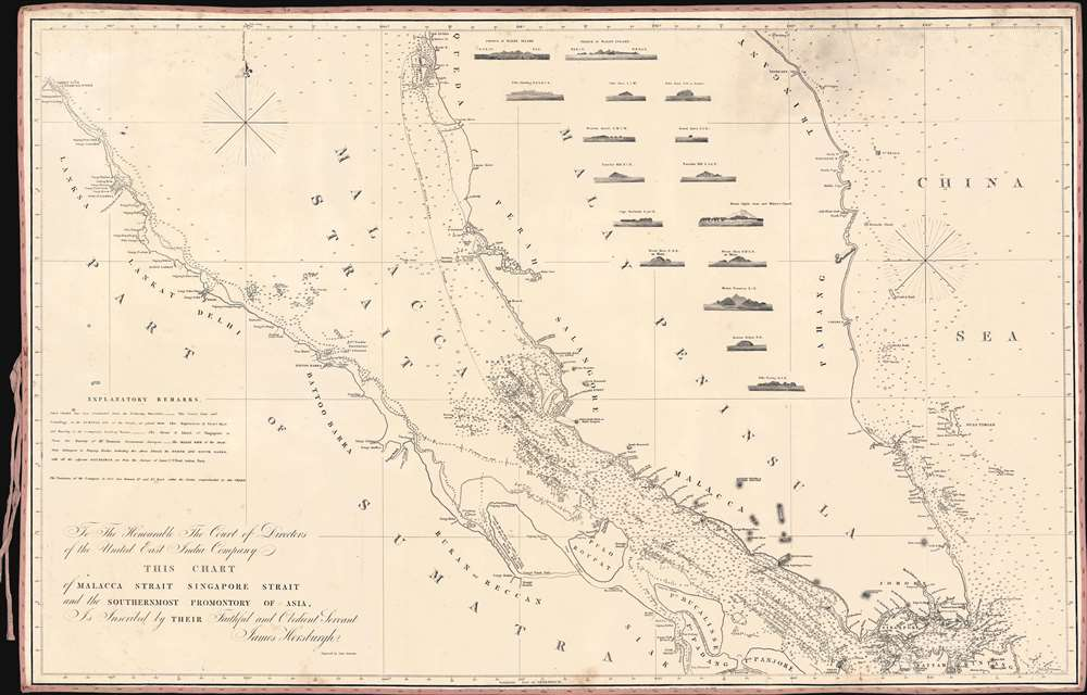 To The Honourable The Court of Directors of the United East India Company This Chart of Malacca Strait Singapore Strait and the Southernmost Promontory of Asia, is Inscribed by their Faithful and Obedient Servant James Horsburgh. - Main View