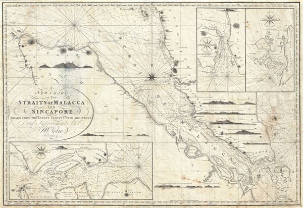 A New Chart of the Straits of Malacca and Sincapore Drawn from the Latest Surveys, with Additions and Improvemetns, by J. W. Norie.