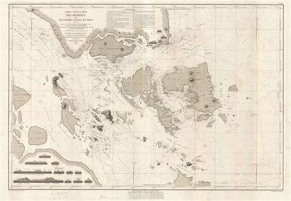 Carte Particulière des Détroits de Singapore, Durian et Rhio.