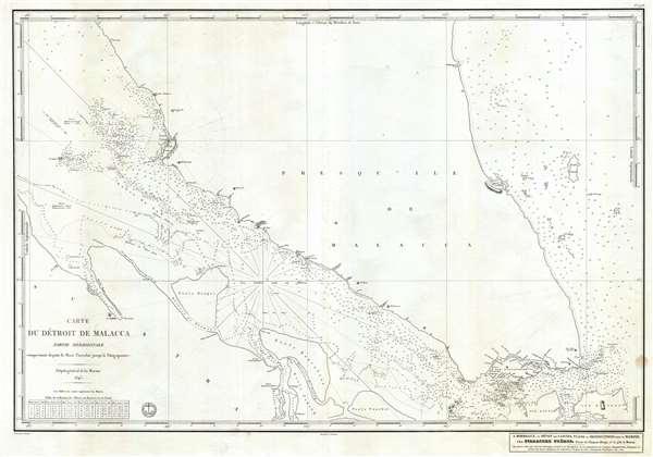 Carte du Détroit de Malacca Partie Méridionale comprenant depuis le Mont Parcelar jusqu'a Singapoure.