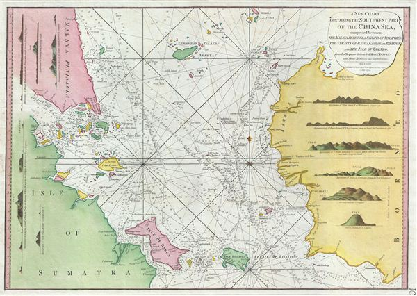 A New Chart Containing the Southwest Part of the China Sea, comprised between The Malaya Peninsula, Straits of Sincapore &c, The Straits of Banca, Gaspar and Billiton, and The Isle of Borneo. - Main View