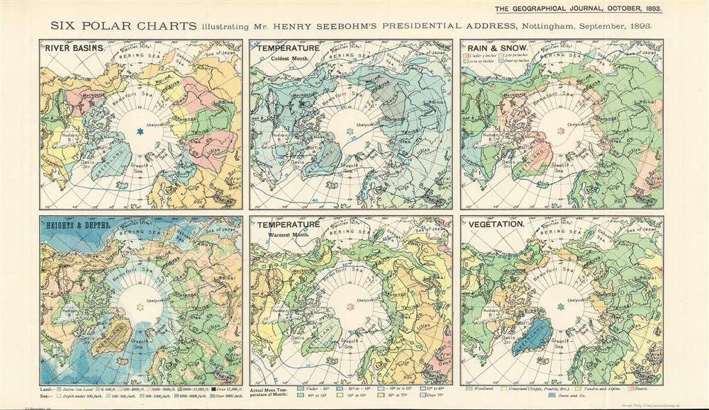 Six Polar Charts illustrating Mr. Henry Seebohm's Presidential Address, Nottingham, September, 1893. - Main View