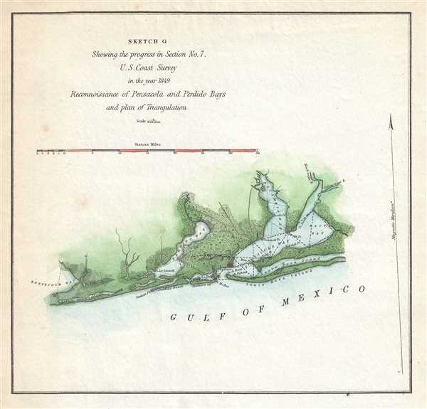 Sketch G Showing the progress in Secion No. 7 U.S. Coast Survey in the year 1849 Reconnoissance of Pensacola and Perdido Baysand plan of Triangulation.