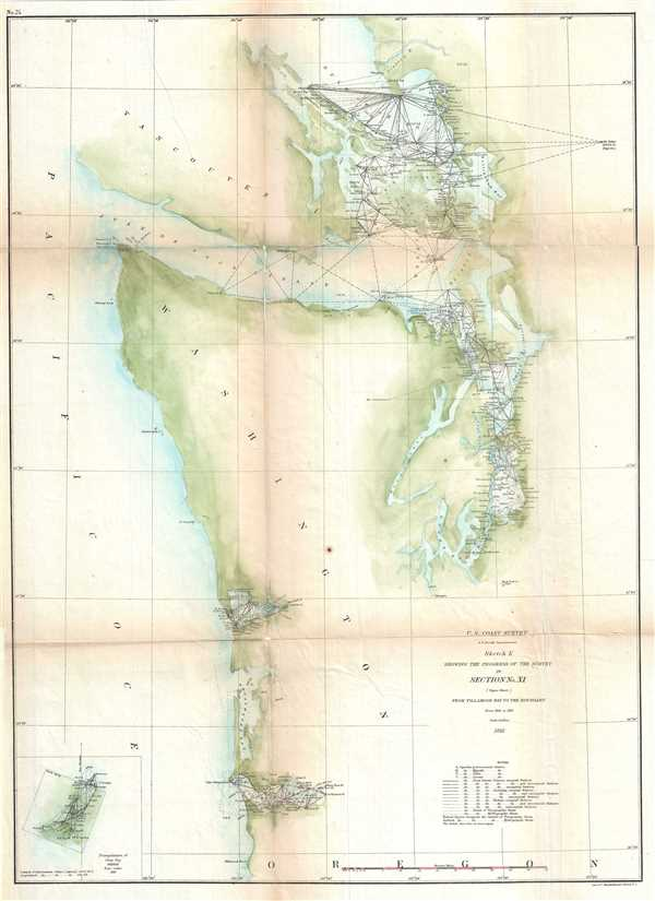 Sketch K Showing the Progress of the Survey in Section No. XI (Upper Sheet) From Tillamook Bay to the Boundary from 1851 to 1861.