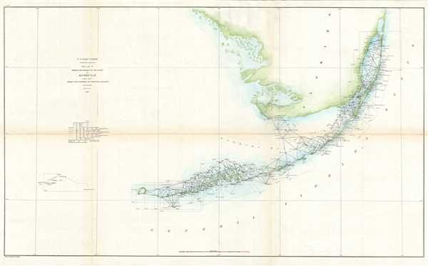 Sketch F Showing the Progress of the Survey in Section No. VI (Lower Sheet) From Cape Florida to Tortugas Islands from 1845 to 1860.