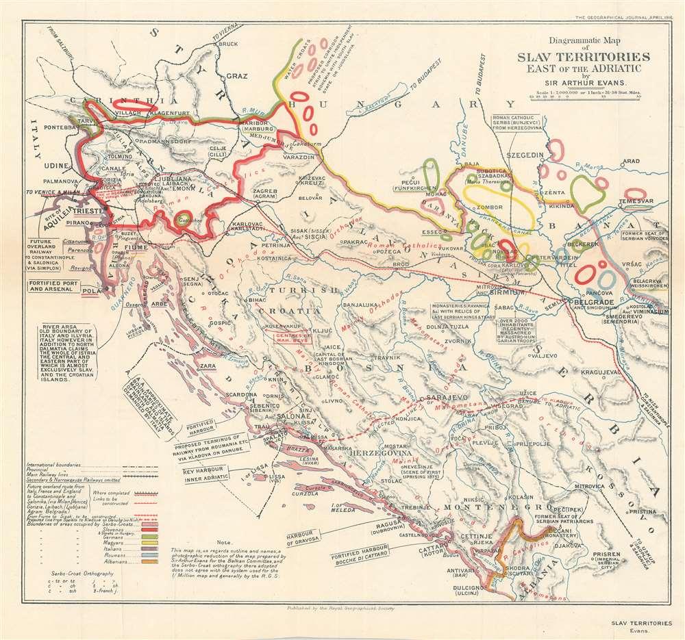1916 Evans Ethnographic Map of Yugoslavia Published During World War I