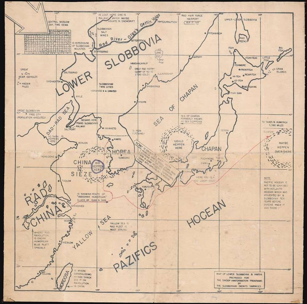 1950 Capp Satirical Map of China, Japan, and Korea during Korean War