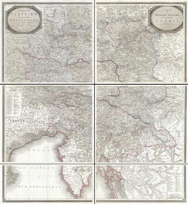 Königreich Illyrien und Herzogthum Steyermark… /  Carte du Royaume d'Jllyrie et du Duché de Styrie.