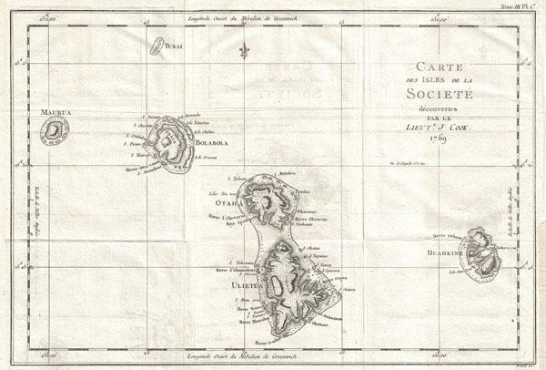 Carte des Isles de la Societe decouvertes parle Lieut. J. Cook. 1769.