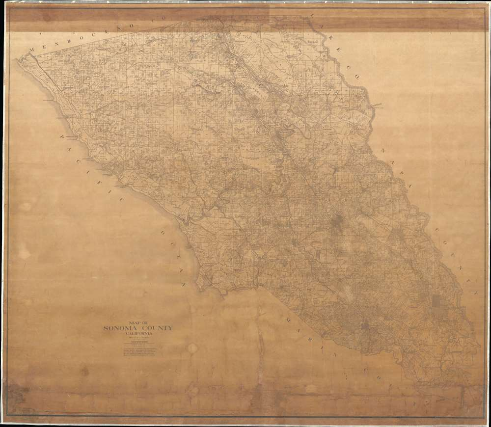 1908 Youker Map of Sonoma County, California