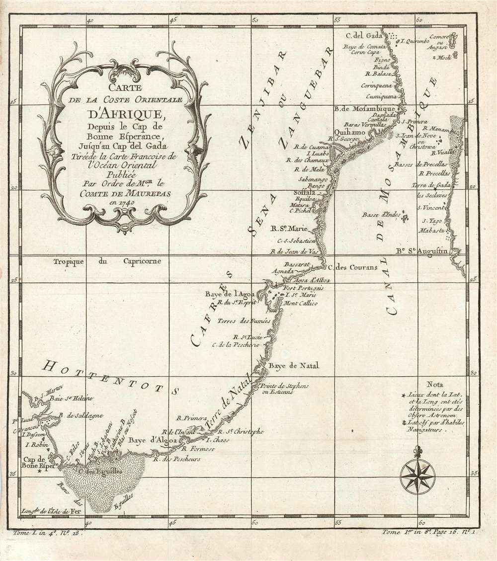 Carte de la coste orientale d'Afrique depuis le Cap de Bonne Esperance jusqu'au Cap del Gada : tireéde la carte francoise de l'ocean oriental publieé par ordre de mgr. le comte de Maurepas en 1740. - Main View