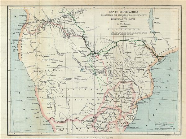 Map of South Africa Illustrating the Journey of Major Serpa Pinto from Benguella to Natal 1877-79.