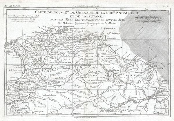 Carte du Nouv. Rme. De Grenade, de la noule Andalousie, et de la Guyane, avec les Pays Limitrophes qui en sont au Sud.