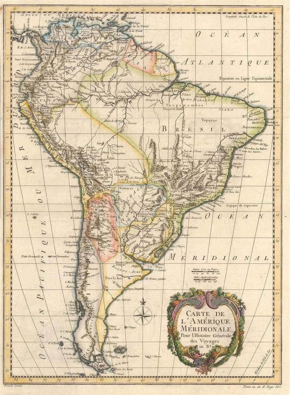Carte de l'Amérique Méridionale. - Main View