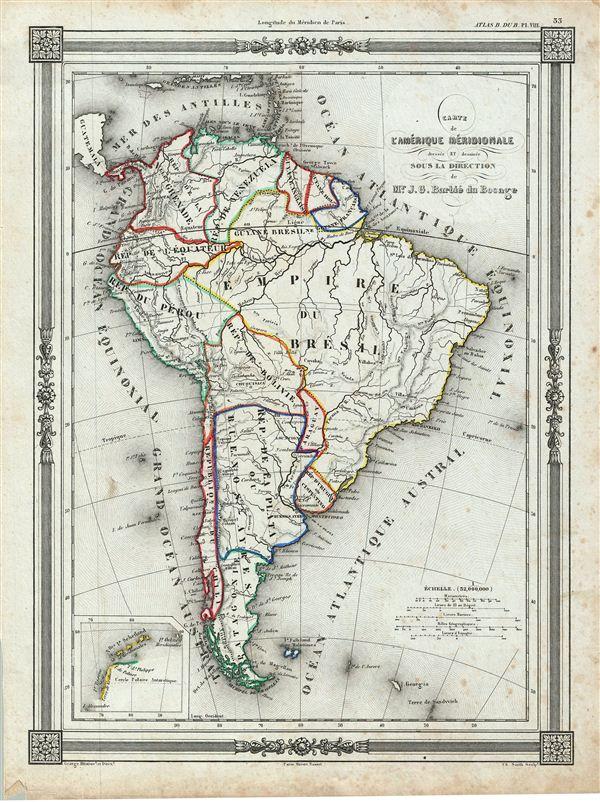 Carte de l'Amerique Meridionale.