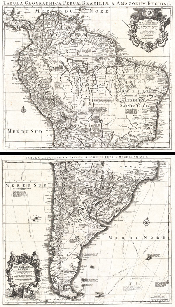 Tabula Geographica Peruae, Braziliae & Amazonum Regionis. / Carte de la Terre Ferme du Perou, du Bresil, et du Pays des Amazones. / Tabula Geographica Paragiae, Chilis, Freti a Magellanici & c. / Carte du Paraguay, Du Chili, du Detroit de Magellan & c.