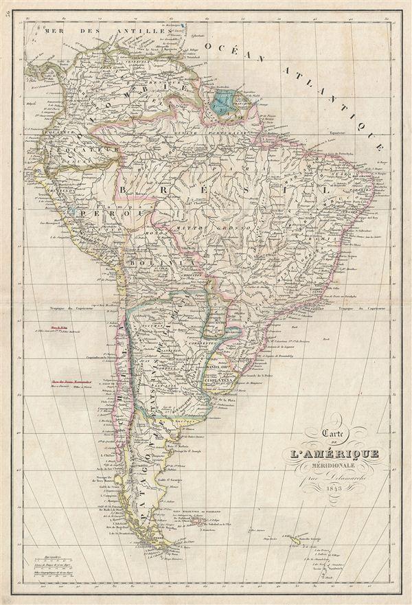 Carte de l'Amerique Meridionale. - Main View