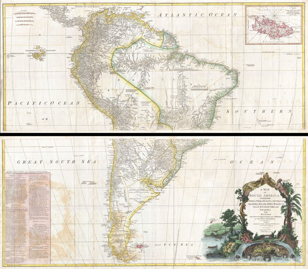 A Map of South America containing Tierra-Firma, Guayana, New Granada, Amazonia, Brasil, Peru, Paraguay, Chaco, Tucuman, Chili and Patagonia from M. d'Anville with Several Imporvements and Additions, and The Newest Discoveries.