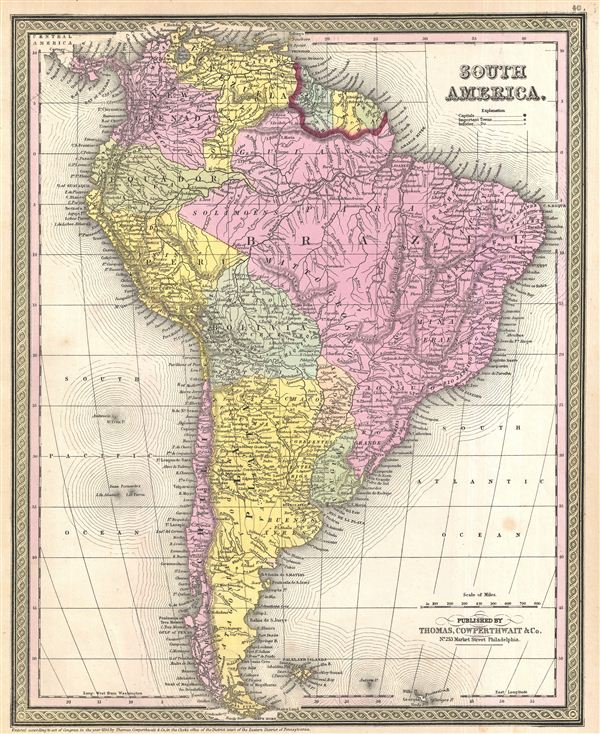 1854 Mitchell Map of South America