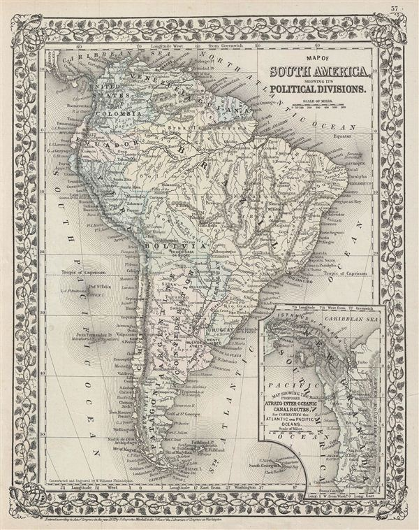 Map of South America, showing its Political Divisions. - Main View
