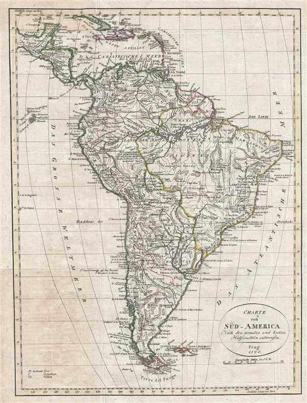 Charte von Süd - America Nach den neuesten und besten Hülfomitteln entworfen.