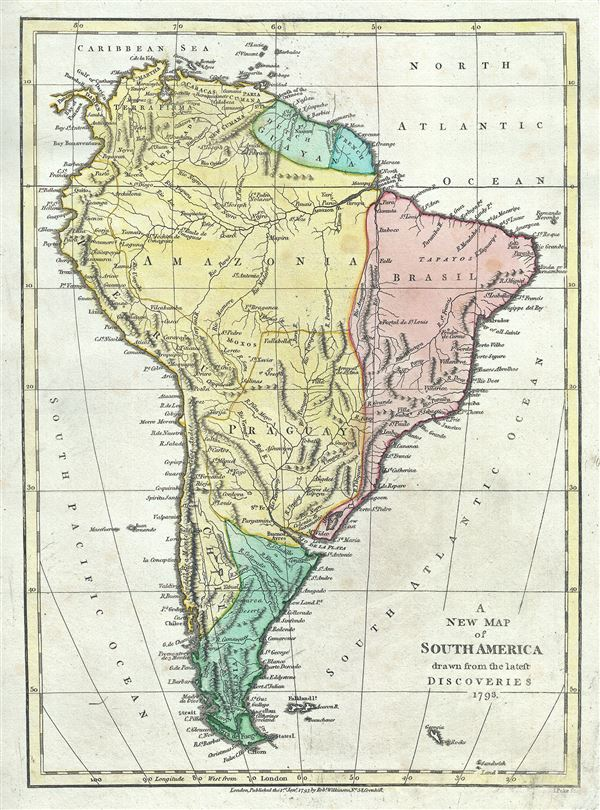 Caribbean Sea South America Map.A New Map Of South America Drawn From The Latest Discoveries