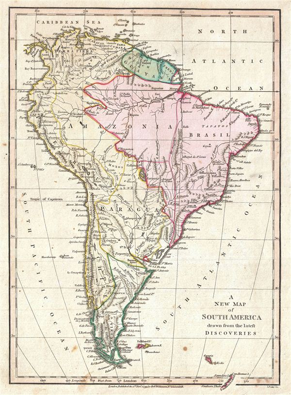 A New Map of  South America drawn from the latest Discoveries.