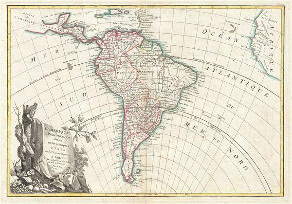 L'Amerique Meridionale divisee en ses principaux Etats.