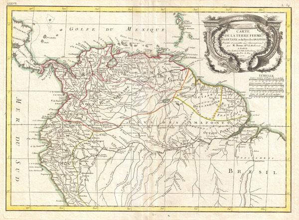Carte de La Terre Ferme, de la Guyane et du Pays des Amazones. - Main View