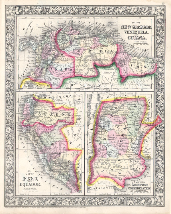 Map of New Granada, Venezuela, and Guiana. / Map of Peru and Equador. / Map of the Argentine Confederation. - Main View