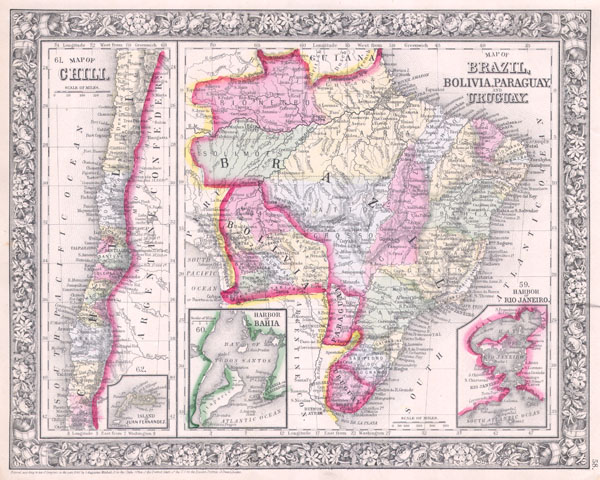 Map of Brazil, Bolivia, Paraguay, and Uruguay. / Map of  Chili.