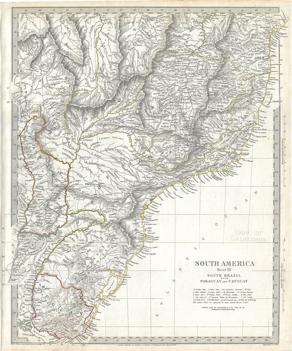 South America Sheet III South Brazil with Paraguay and Uruguay.