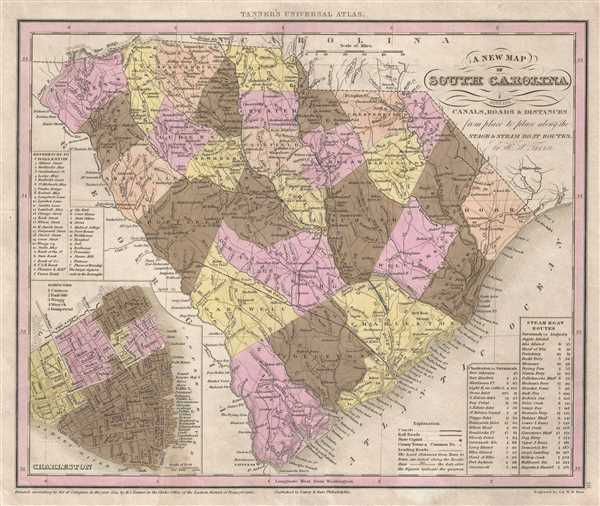 A New Map of South Carolina with its Canals, Roads and Distances from place to place, along the Stage and Steam Boat Routes. - Main View