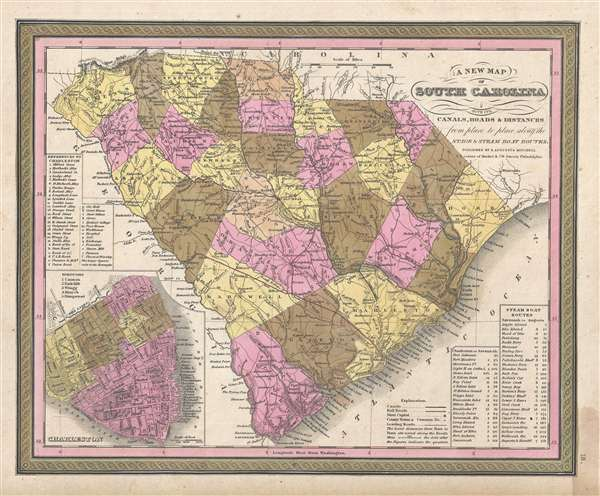 A New Map of South Carolina with its Canals, Roads and Distances from place to place, along the Stage and Steam Boat Routes.