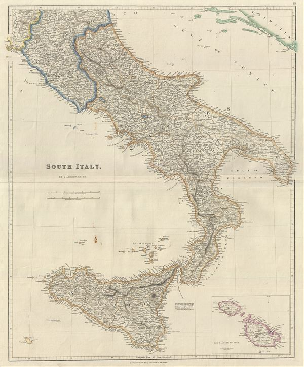 Map Of South Of Italy.South Italy Geographicus Rare Antique Maps