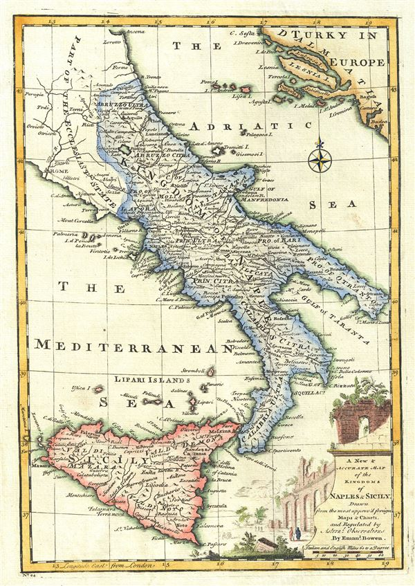 A New and Accurate Map of the Kingdoms of Naples and Sicily. - Main View