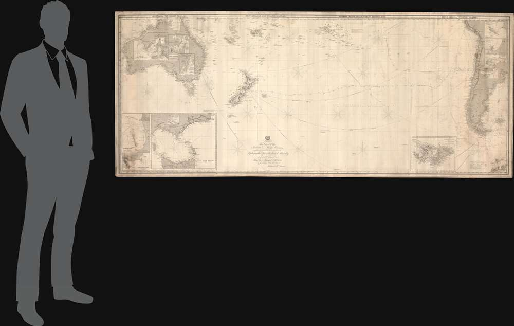 This Chart of the Indian and Pacific Oceans, compiled chiefly from Documents deposited in the Hydrographic Office of the British Admiralty is respectfully dedicated to Adm. Sir. F. Beaufort, F. R. L. ... - Alternate View 1