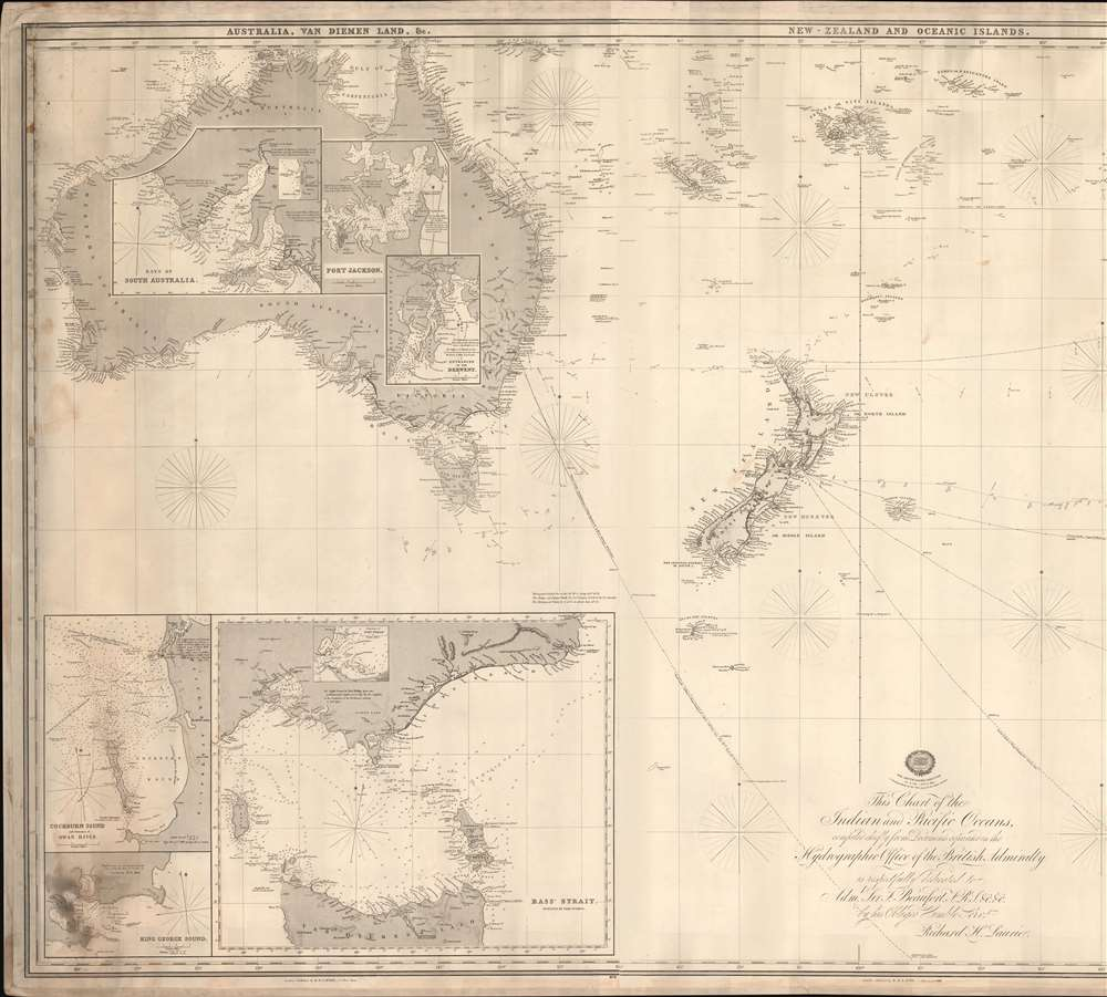 This Chart of the Indian and Pacific Oceans, compiled chiefly from Documents deposited in the Hydrographic Office of the British Admiralty is respectfully dedicated to Adm. Sir. F. Beaufort, F. R. L. ... - Alternate View 2