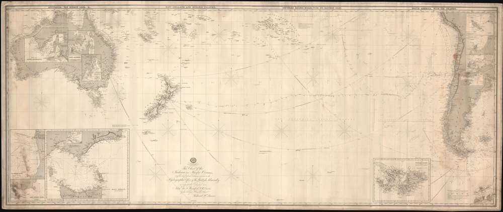 This Chart of the Indian and Pacific Oceans, compiled chiefly from Documents deposited in the Hydrographic Office of the British Admiralty is respectfully dedicated to Adm. Sir. F. Beaufort, F. R. L. ... - Main View