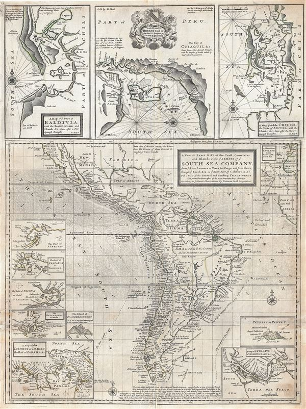 A new & exact map of the coast, countries and islands within the limits of ye South Sea Company, from ye River Aranoca to Tierra del Fuego, and from there through ye South Sea to ye north port of California, &c. with a view of general and coasting trade-winds and particular draughts of the most important bays, ports, &c., according to ye newest observations, by Herman Moll Geographer.