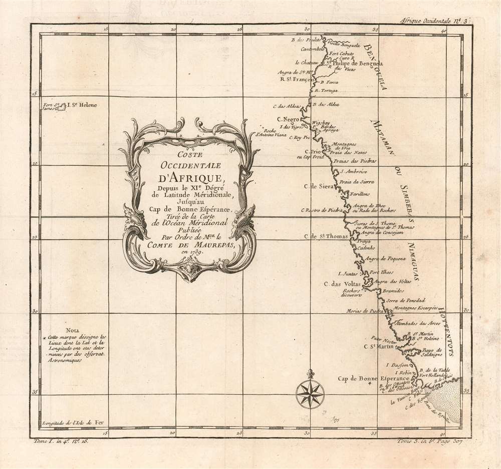 1780 Bellin Map of the South-West Coast of Africa, Angola to Cape of Good Hope
