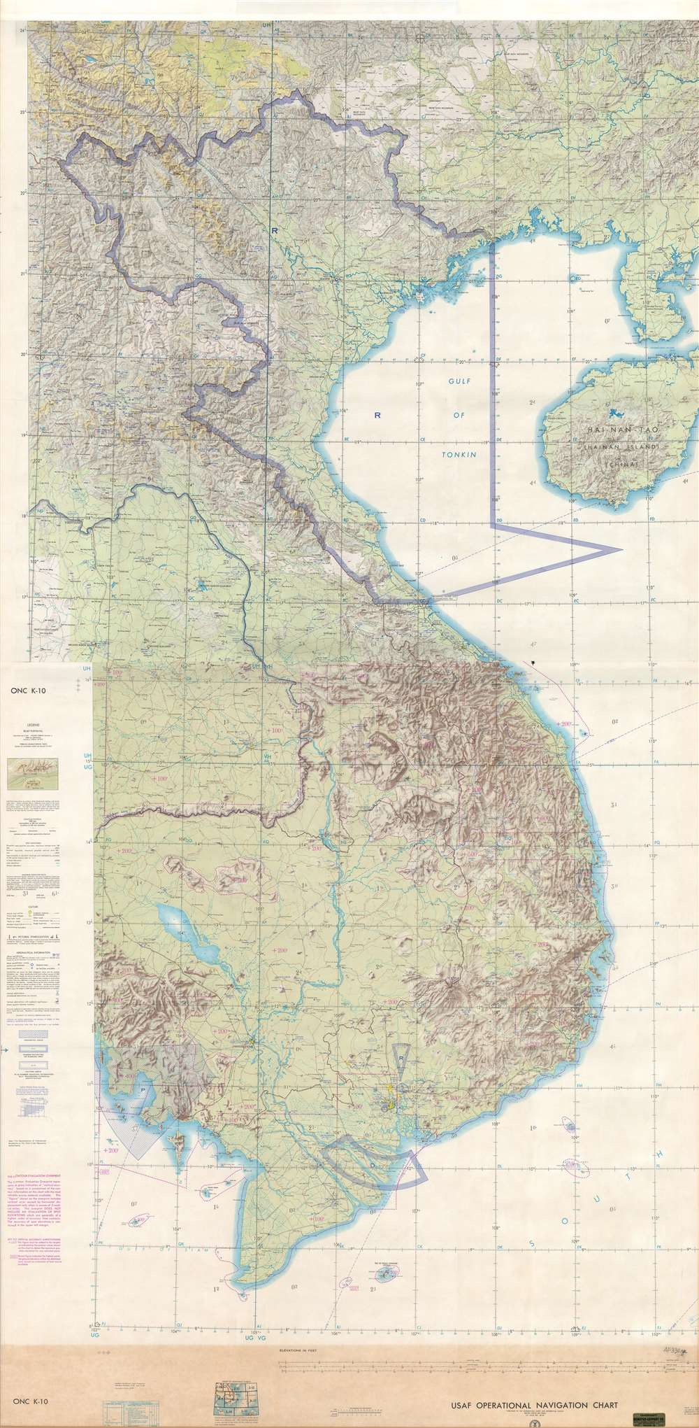 USAF Operations Navigation Chart ONC K-10 / USAF Operations Navigation Chart ONC J-11.