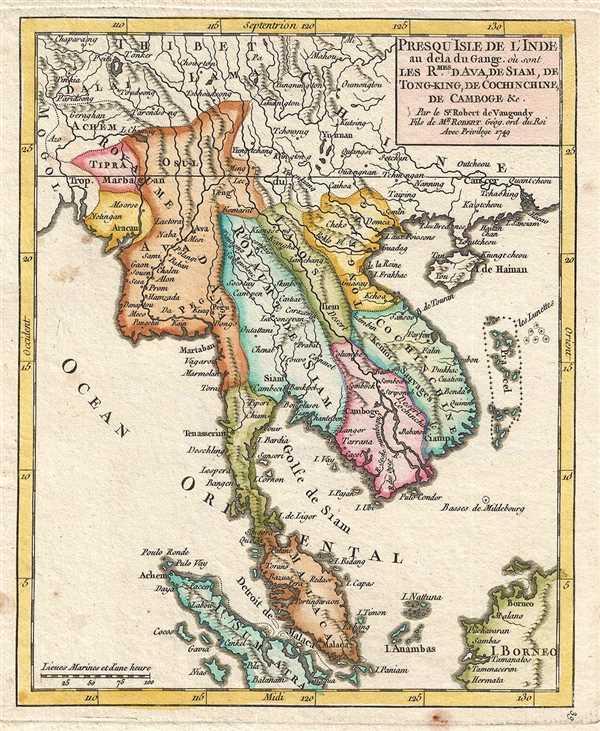 Presqu'Isle de l'Inde au dela du Gange ou sont les Royaumes de Siam, de Tong-King, de Cochinchine, de Camboge, etc. Par le Sr. Robert de Vaugondy, Fils de Mr. Robert Géog. ord. du Roi.