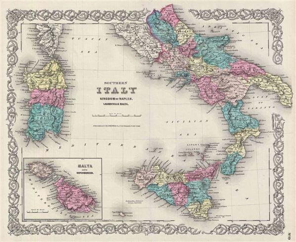 Southern Italy Kingdom of Naples, I. Sardinia & Malta. - Main View