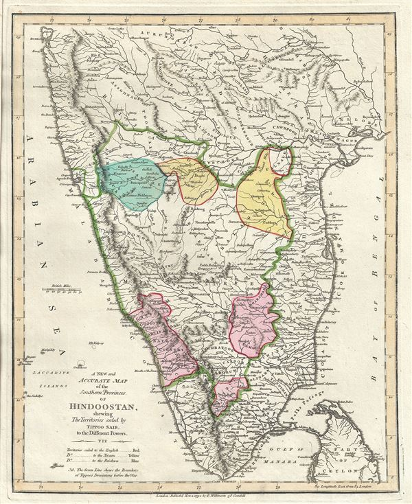 A New and Accurate Map of the Southern Provinces of Hindoostan, shewing The Territories ceded by Tipoo Saib, to the Different Powers.