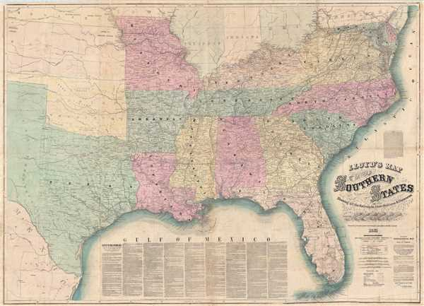 Lloyds Map of The Southern States Showing all the Railroads