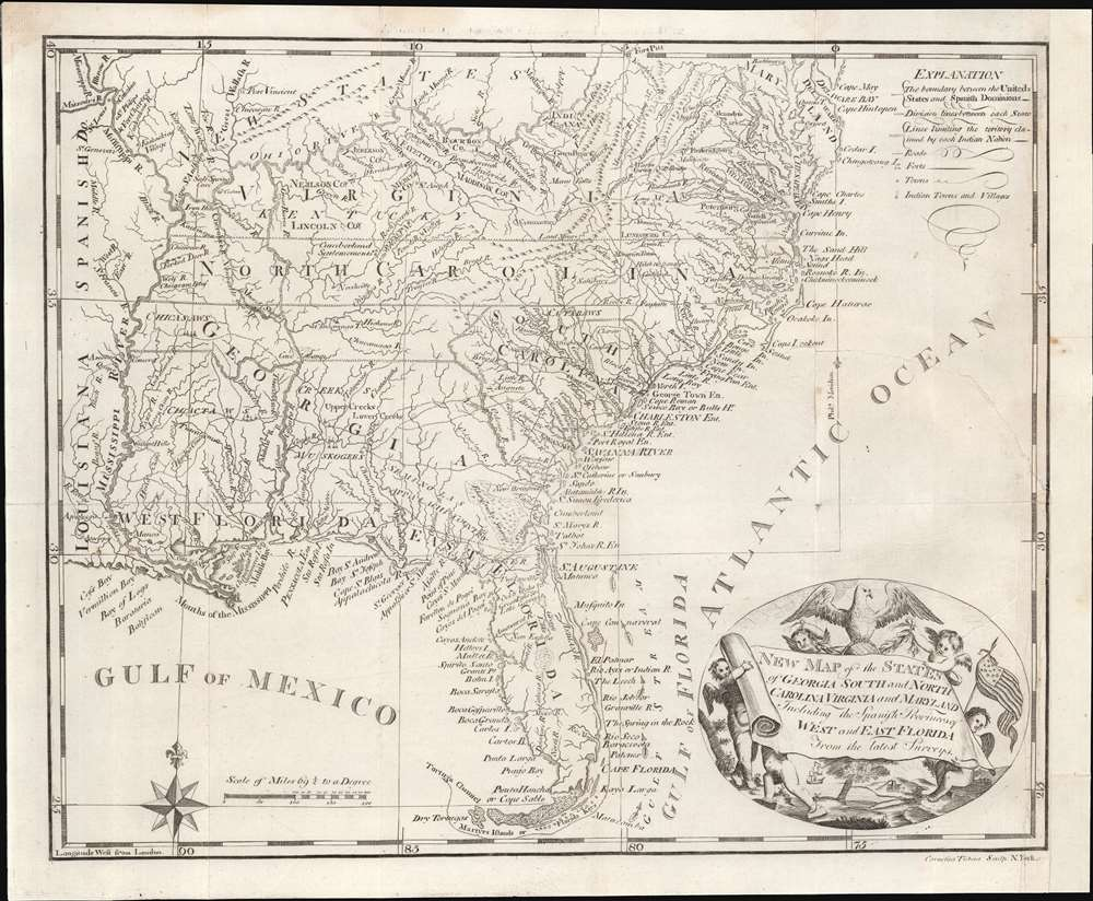 New Map of the States of Georgia South and North Carolina Virginia and Maryland Including the Spanish Provinces of West and East Florida from the latest Surveys. - Main View