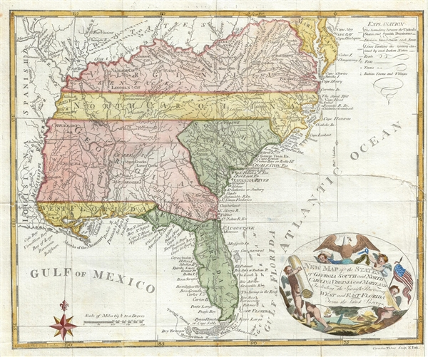 New Map of the States of Georgia South ad North Carolina Virginia and Maryland Including the Spanish Provinces of West and East Florida from the latest Surveys.