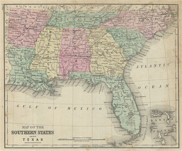 Map of the Southern States except Texas.